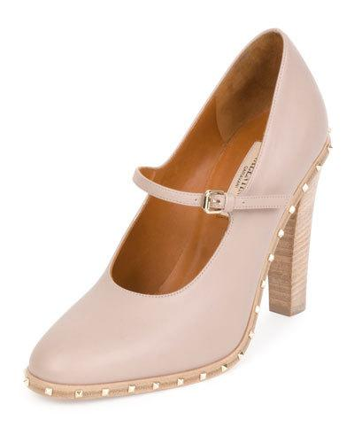 SOUL STUD ROCKSTUD LEATHER MARY JANE PUMP, POUDRE