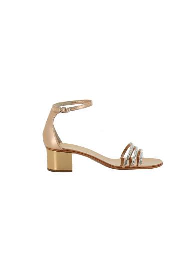 Giuseppe Zanotti - Rose Gold Laminated Leather Sandal With Crystals Martha