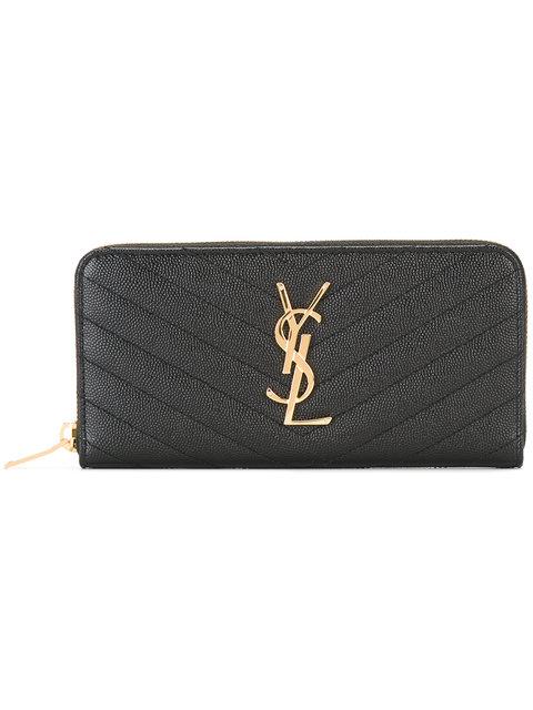 Black Quilted Monogram Zip Around Wallet
