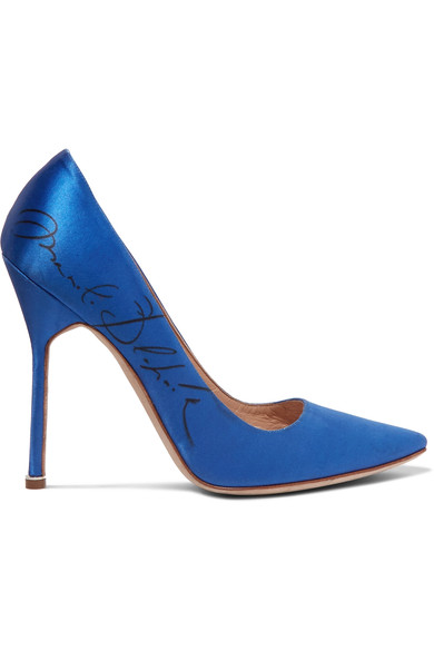 + MANOLO BLAHNIK PRINTED SATIN PUMPS