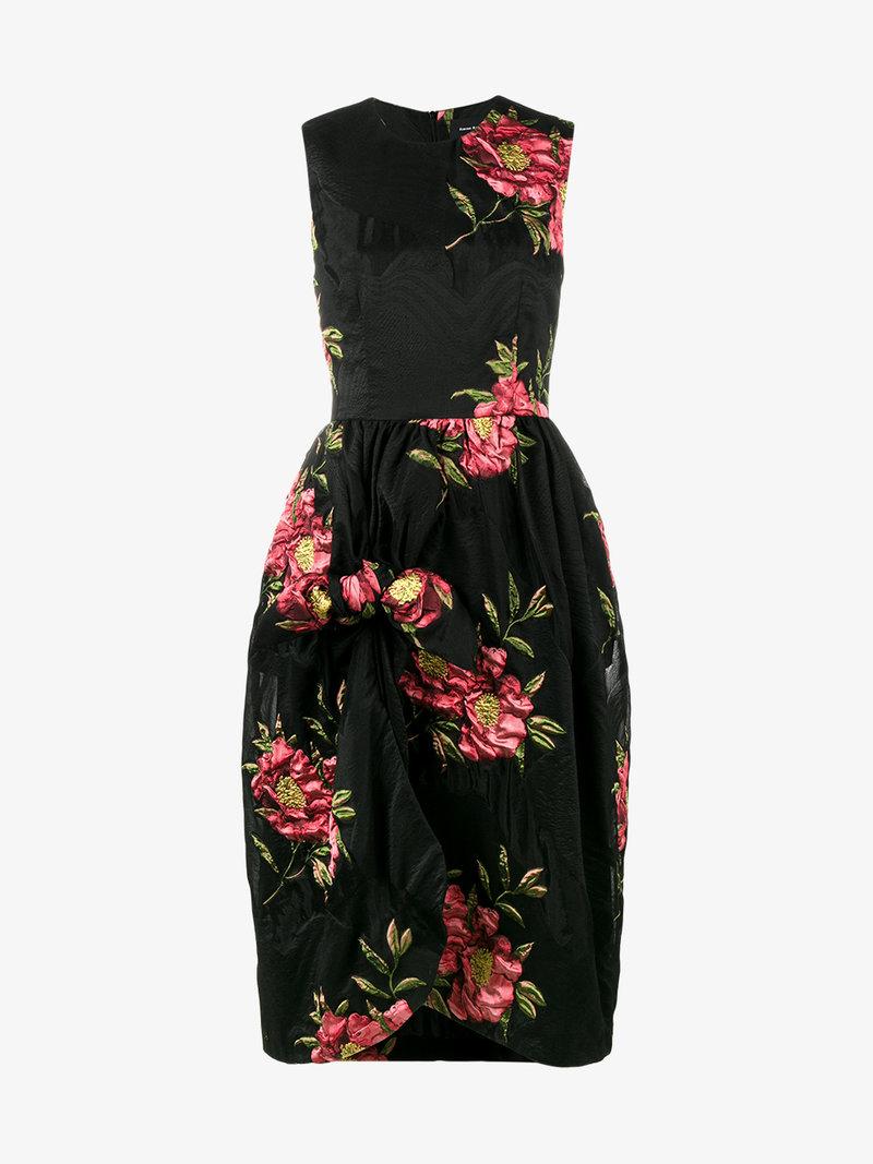 SIMONE ROCHA Floral-Cloqué Gathered Dress