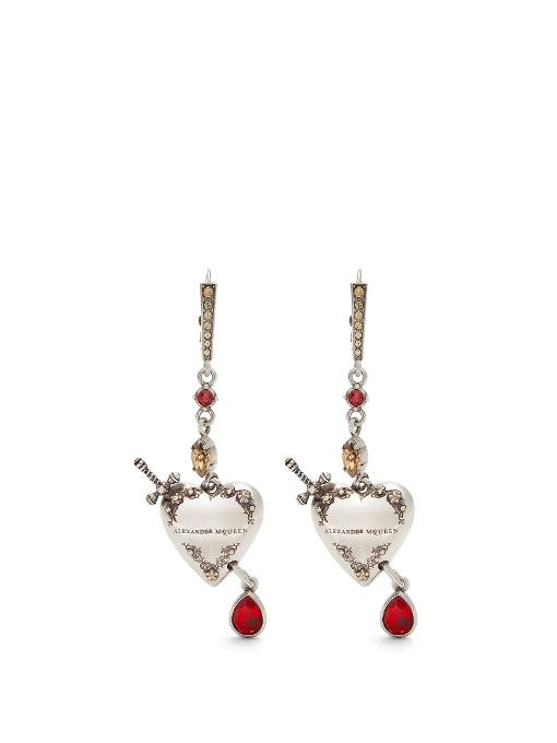 heart and dagger drop earrings