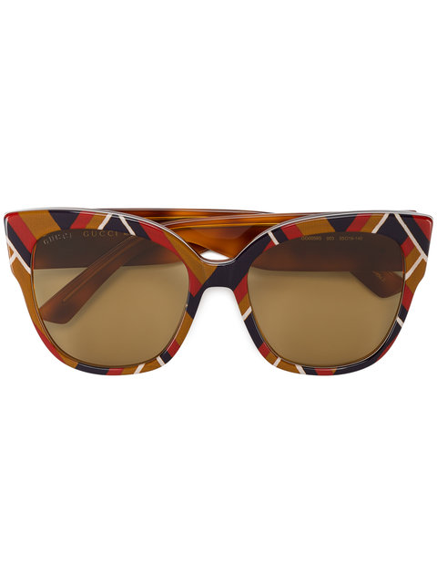 GUCCI SPECIAL EDITION CHEVRON OVERSIZED SQUARE SUNGLASSES, MULTICOLOR, MULTI PATTERN, CHEVRON MUSTARD/ WHITE