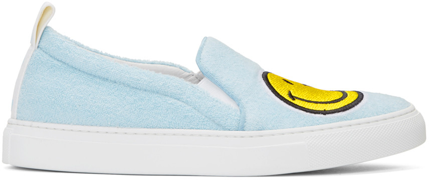LIGHT BLUE FLEECE AND LEATHER SMILE SLIP ON SNEAKERS