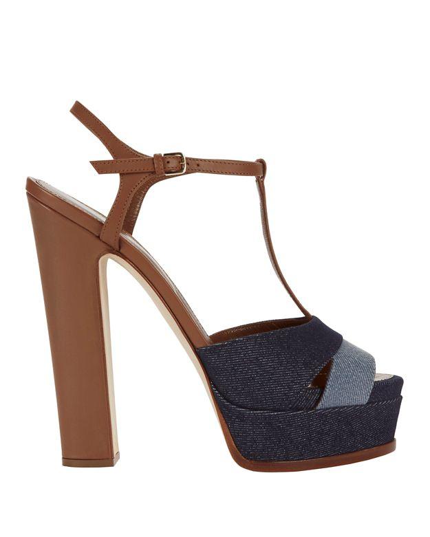 Sergio Rossi Leathers Denim Patchwork T-Strap Platform Sandals