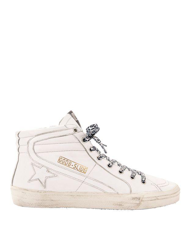 GOLDEN GOOSE White Slide Sneakers in White & Grey