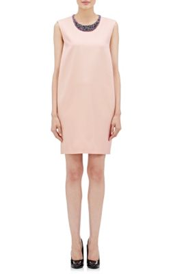 BEADED-NECK SLEEVELESS SHIFT DRESS, LIGHT PINK