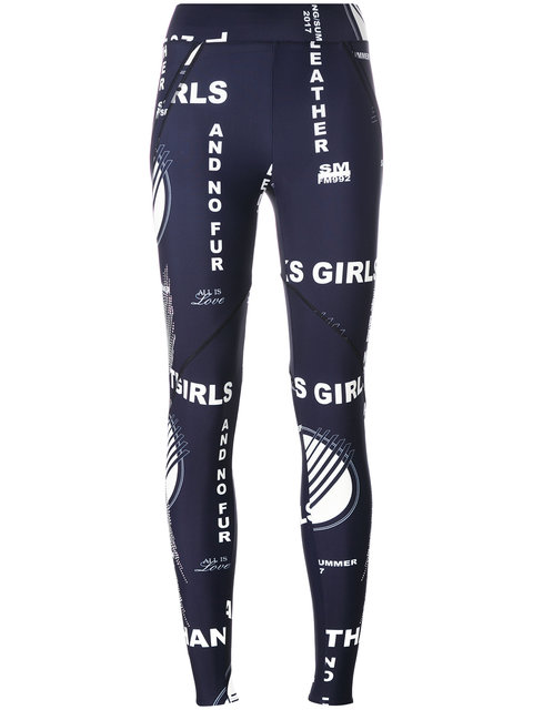 WOMAN STUDDED PRINTED STRETCH LEGGINGS NAVY
