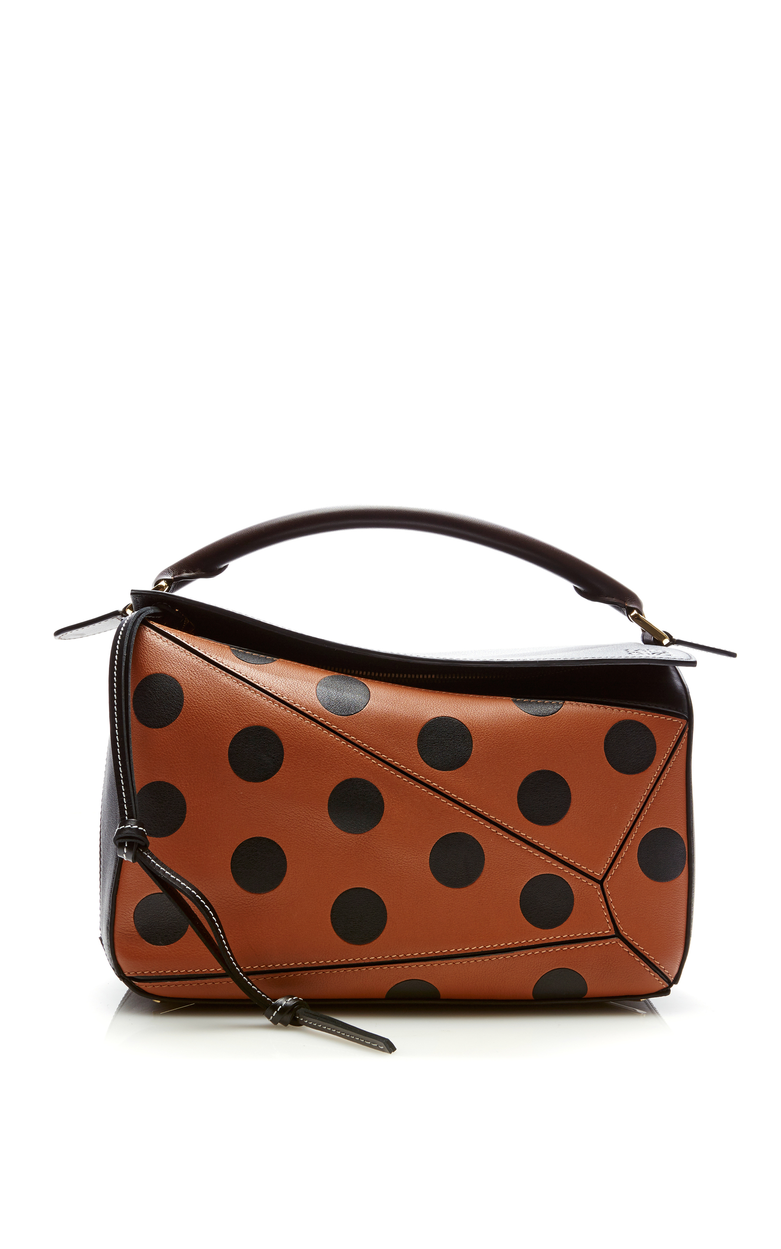 PUZZLE CIRCLES CALFSKIN LEATHER BAG - BEIGE