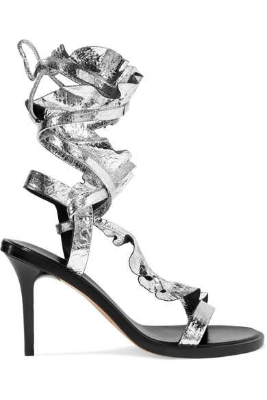 WOMAN ANSEL RUFFLED METALLIC CRACKED-LEATHER SANDALS SILVER