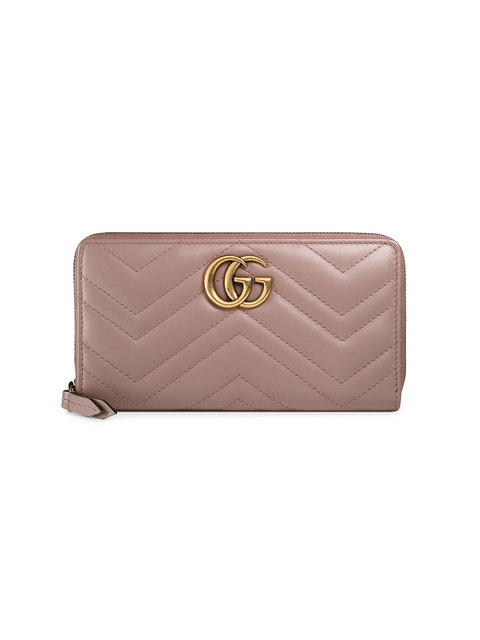 GG Marmont Matelassé Leather Zip-Around Wallet