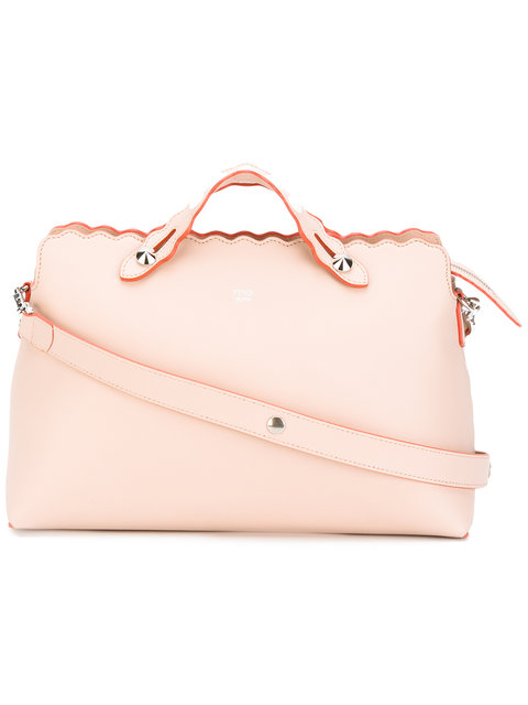 FENDI Large By The Way Bowling Bag in Plaster+Palladio|Rosa