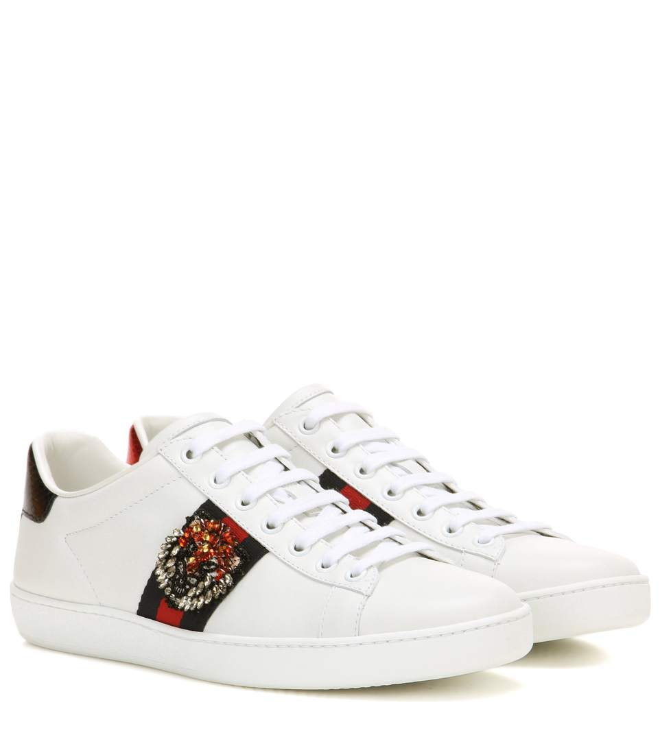 gucci white red blue tiger embroidery ace leather sneakers modesens. Black Bedroom Furniture Sets. Home Design Ideas
