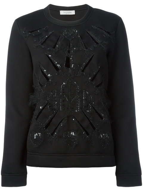 sequin embellished knitted sweater