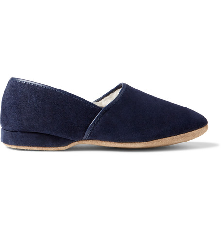 Derek Rose Crawford Shearling-lined Suede Slippers - Navy Store For Sale Cheap Authentic Top Quality Cheap Online Many Kinds Of  With Credit Card Online 2URp7