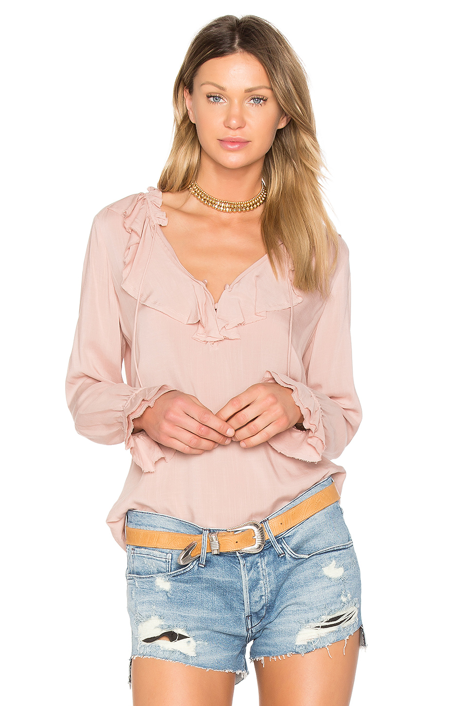 PAIGE Ruffled Neck Blouse in Flora