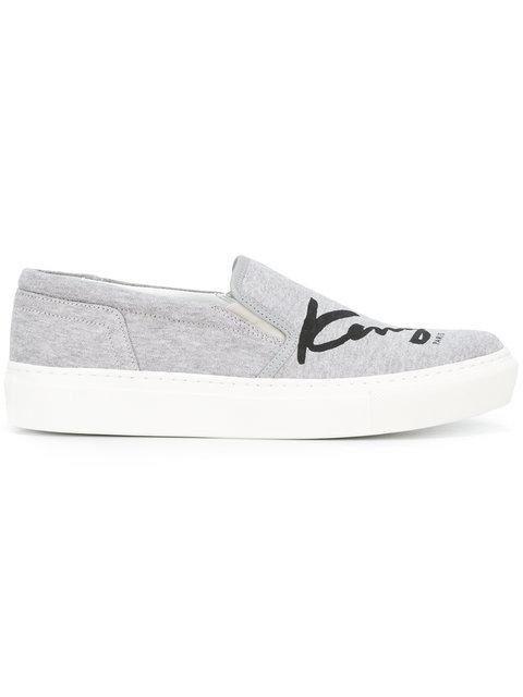KENZO Signature Slip-On Sneakers in Pearl Grey