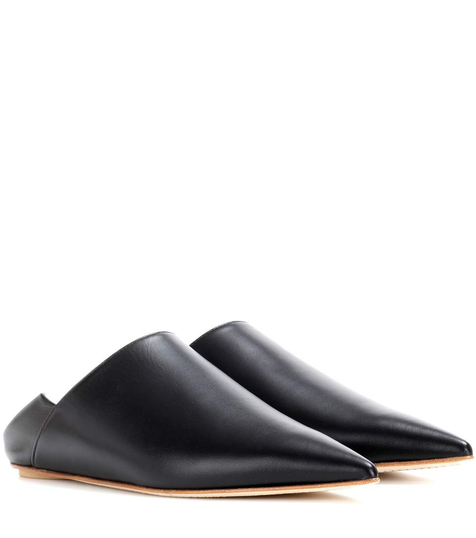 'Sabot' leather babouche slides