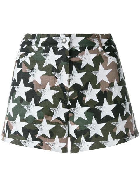 'Camustars' print cotton twill shorts