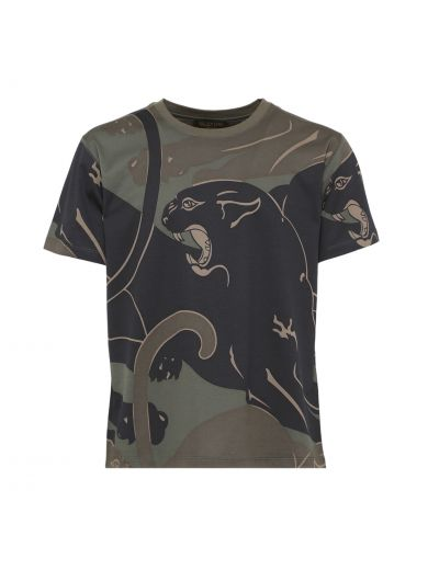 VALENTINO Panther & Camo Cotton Jersey T-Shirt, Military Green