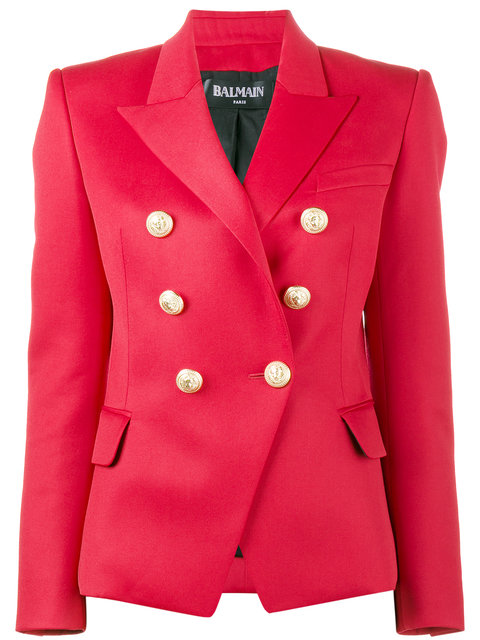 Balmain Wools Red double breasted blazer
