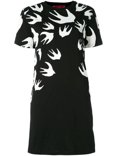 MCQ ALEXANDER MCQUEEN BLACK SWALLOW SIGNATURE T-SHIRT DRESS