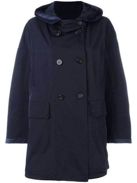 hooded mid-length coat