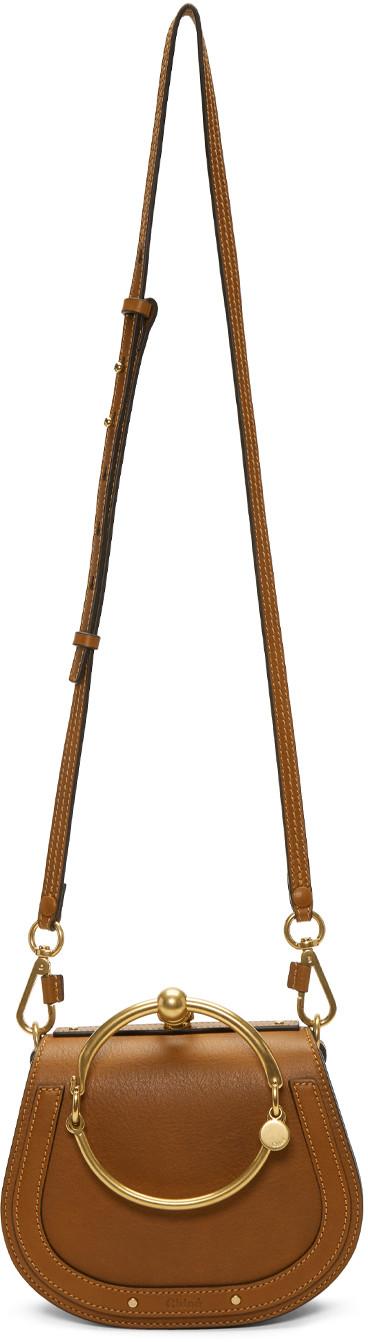 CHLOE SMALL NILE CALFSKIN & SUEDE BRACELET BAG IN BROWN