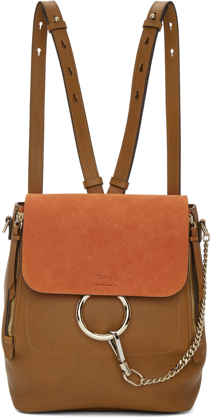 'Faye' small suede flap leather backpack