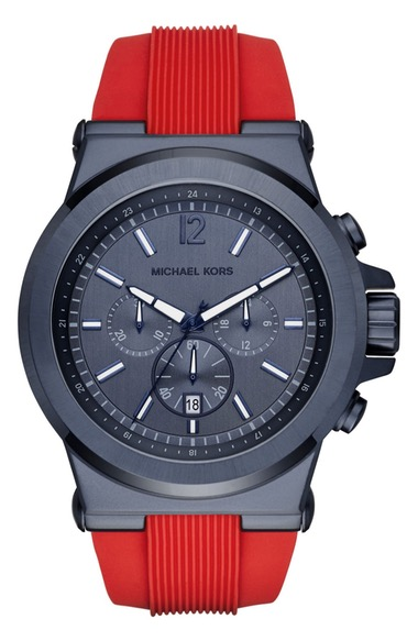 MICHAEL MICHAEL KORS Michael Kors 'Dylan' Chronograph Silicone Strap Watch, 48Mm in Red/ Blue