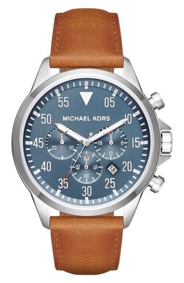 MICHAEL MICHAEL KORS Michael Kors 'Gage' Chronograph Leather Strap Watch, 45Mm