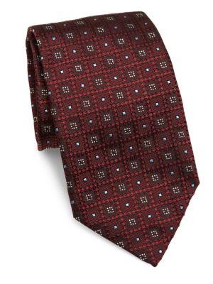 ERMENEGILDO ZEGNA Geometric Woven Silk Tie