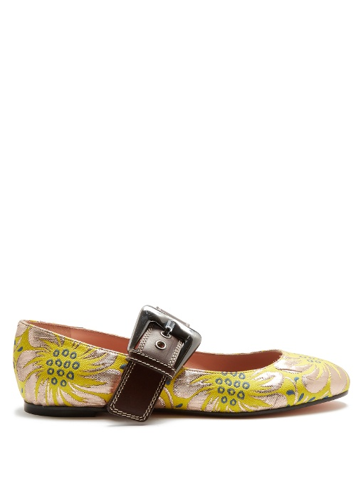 ROCHAS Mary-Jane Floral Brocade Flats