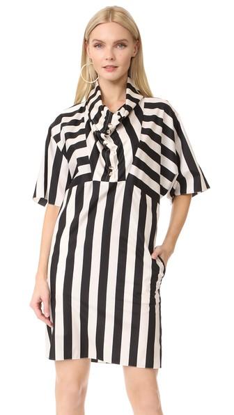 STRIPED SILK DRESS WITH FUNNEL NECKLINE