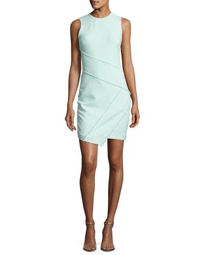 CINQ À SEPT Josie Fringe-Trim Sleeveless Dress, Light Aqua Blue