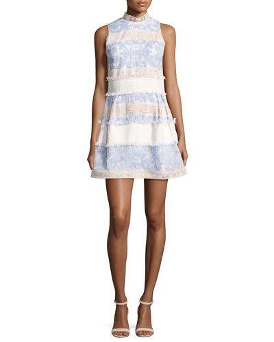 ALEXIS Minika Embroidered Mock-Neck Dress, Blue Pattern