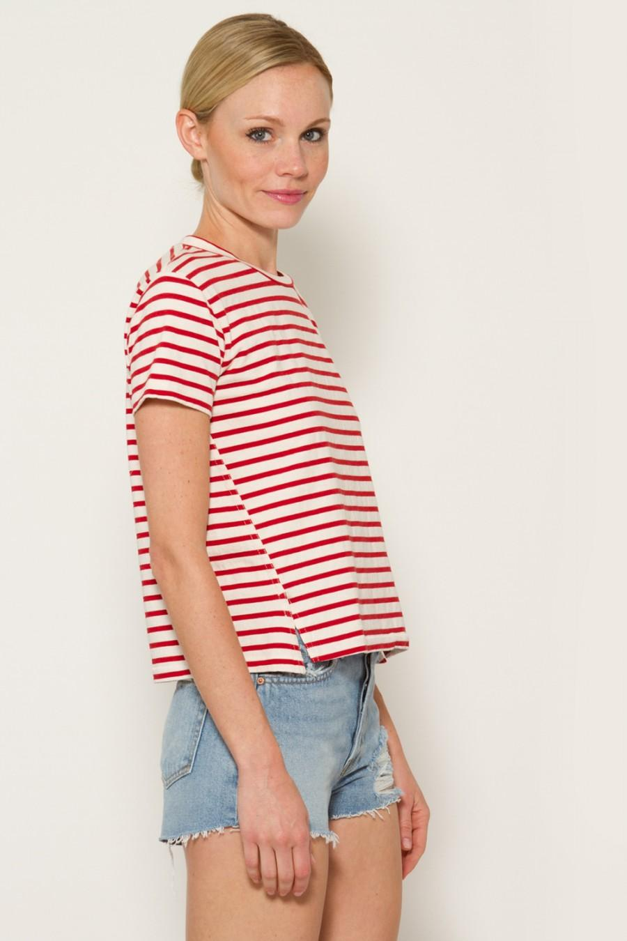 AMO Striped Twist Seam Tee