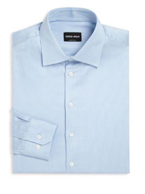 GIORGIO ARMANI Striped Long Sleeve Regular-Fit Dress Shirt