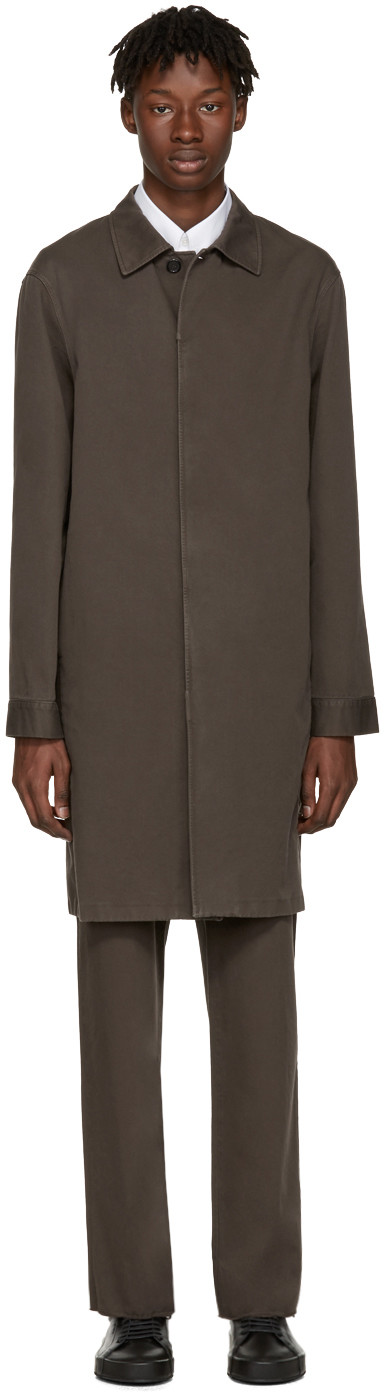JIL SANDER Brown Madras Coat