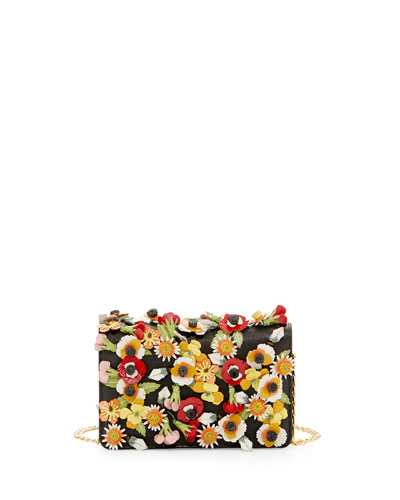 PRADA Saffiano Garden Floral Crossbody Bag, Black
