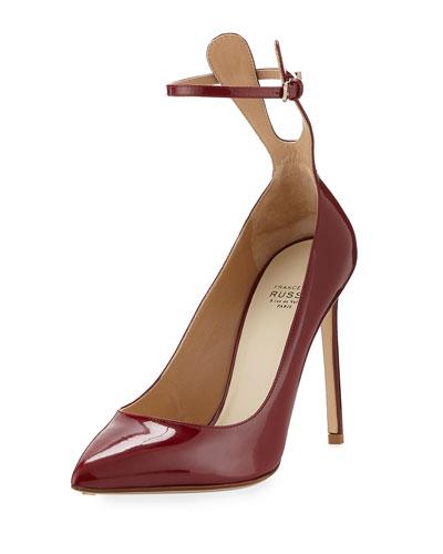 FRANCESCO RUSSO Patent Ankle-Strap 105Mm Pump, Amaranto