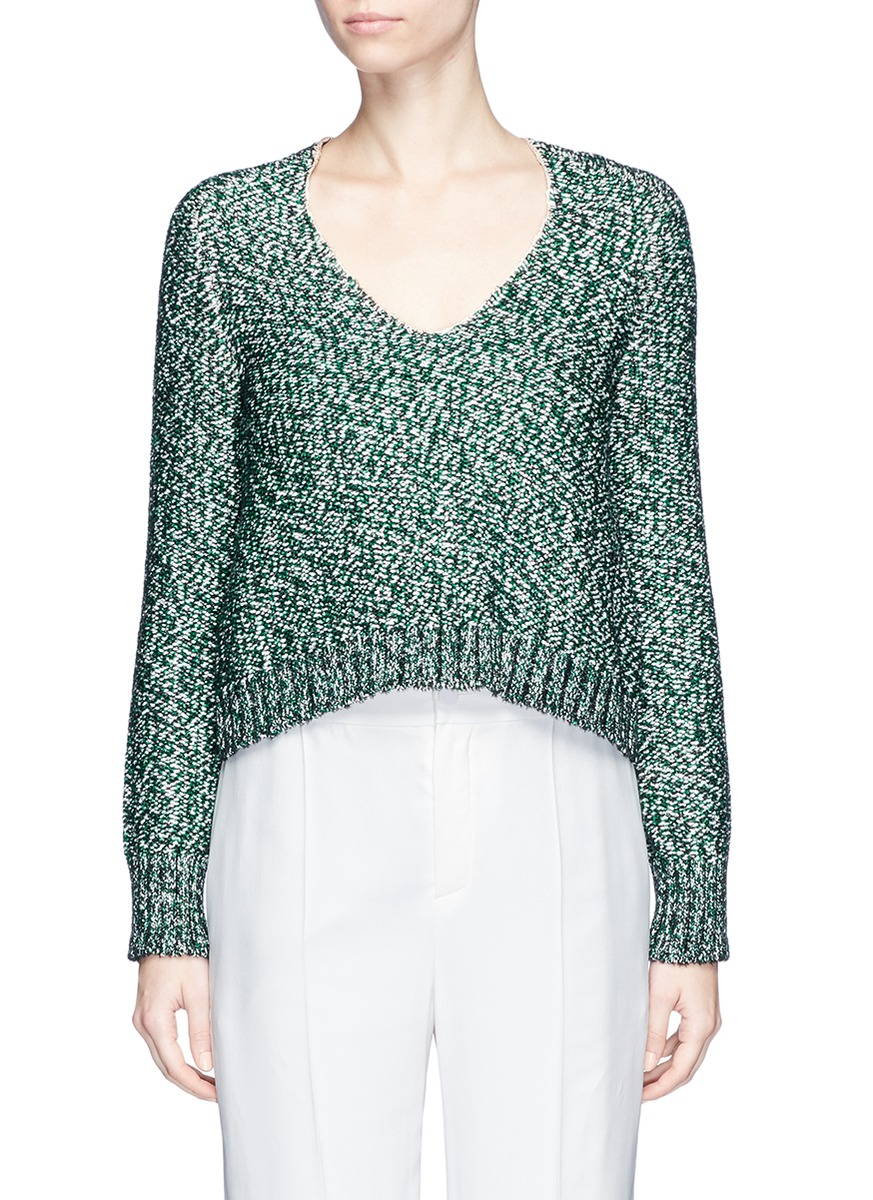 LANVIN Metallic Tweed Effect Sweater