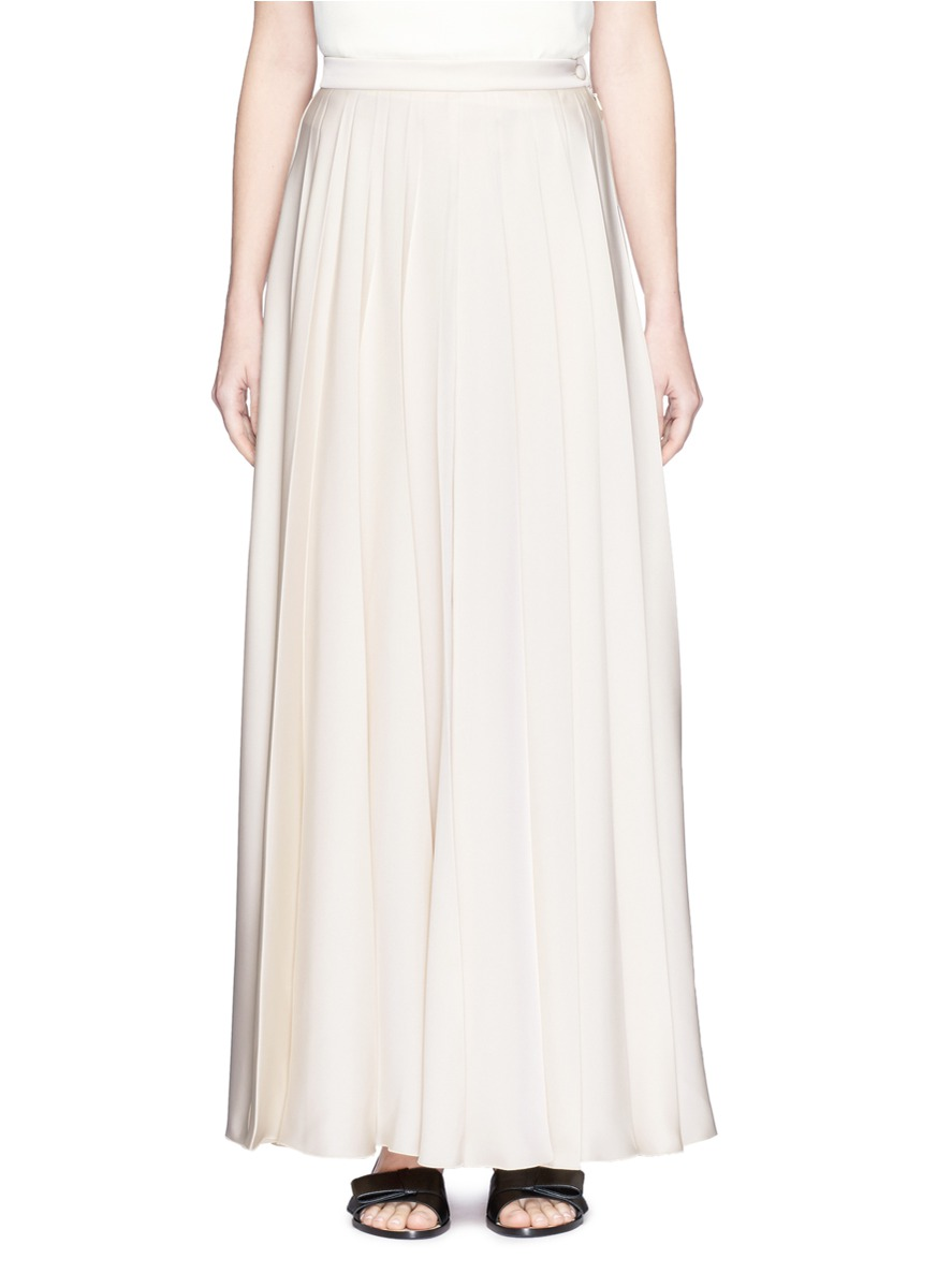 LANVIN Satin Twill Pleated Maxi Skirt
