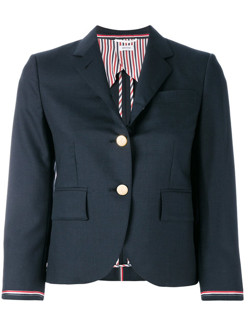THOM BROWNE Single Breasted Sport Coat With Selvedge Stripe Insert In