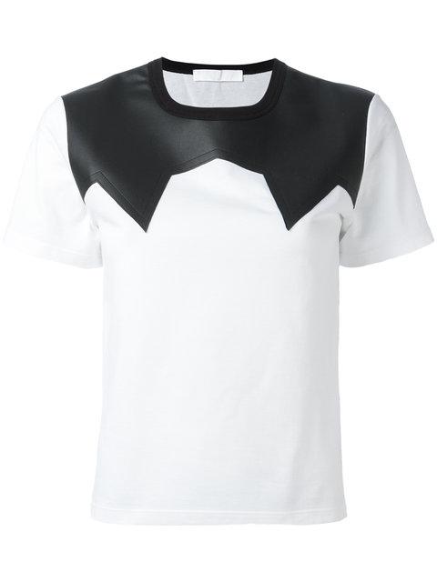 NEIL BARRETT Leather Effect Panel T-Shirt