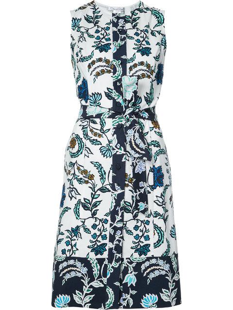 OSCAR DE LA RENTA Floral Print Wrap Dress