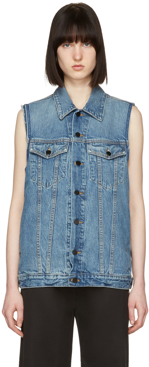 WOMAN DISTRESSED DENIM VEST MID DENIM