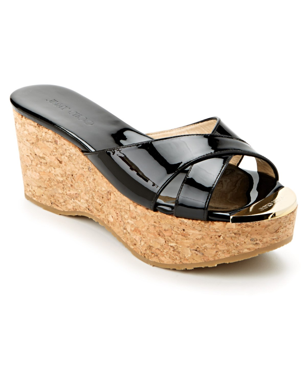 JIMMY CHOO PRIMA PATENT & CORK WEDGE SANDAL