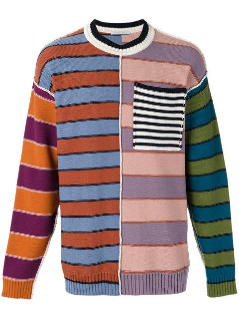 ANDREA POMPILIO chest pocket striped jumper