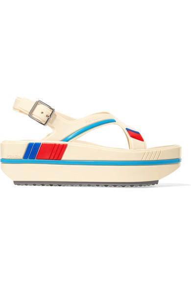 Striped rubber platform sandals